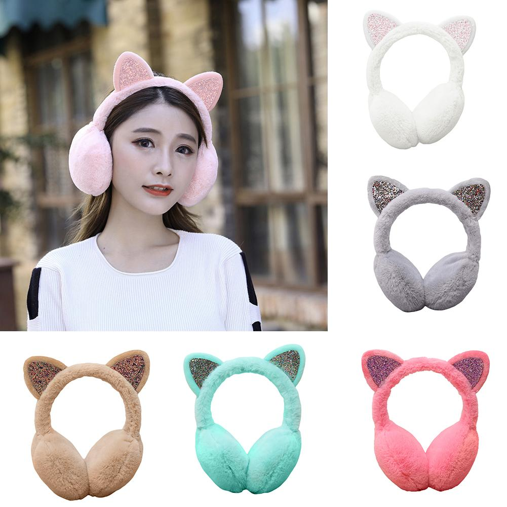 Top Sell Winter Cute Earmuff For Women Sequin Cat Ear Muffs Fluffy Earmuffs Earflap Earcap Plush Earwarmers Ear Cover