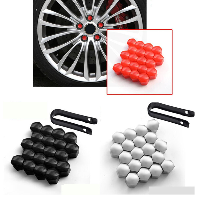 17mm BLACK Wheel Nut Covers with removal tool fits SKODA ET