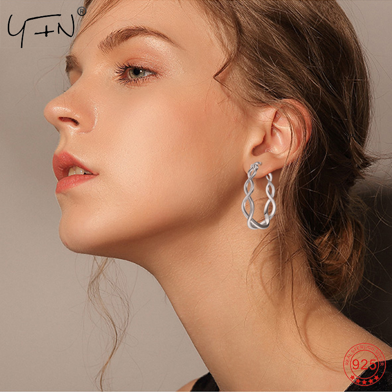 Earrings 925 Genuine Sterling Silver Hoop Earrings For Women Twisted Circle Earring Valentine's Day Gift Bijoux Jewelry PYE0080 personality women creole earrings fashion jewelry silver small circle hoop earing set of 9 pairs bijoux statement hoop earrings