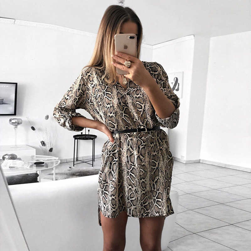 Fashion Women Leopard T shirt Dress Elegant long sleeve Party Club Dress V neck OL Clothing Dames robe femme vestidos Streetwear