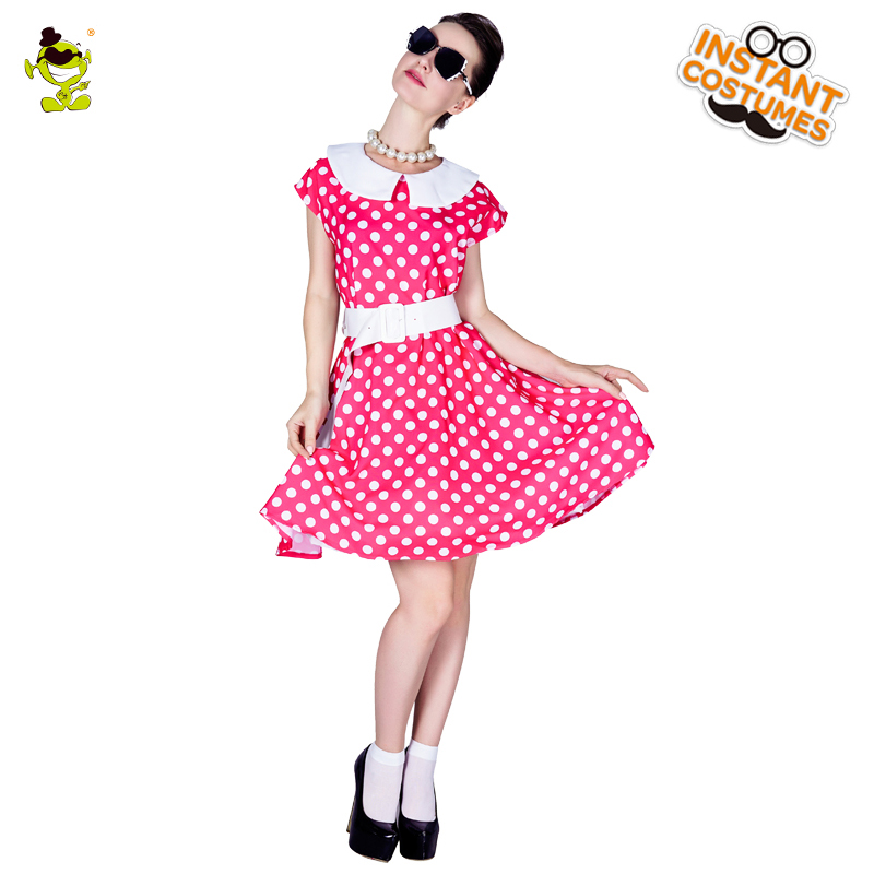 New Arrival Womens Rose-red 1950s Retro Ladies Polka Dot Costumes Women Carnival Greased Lady Cosplay Sexy Rock Fancy Dress