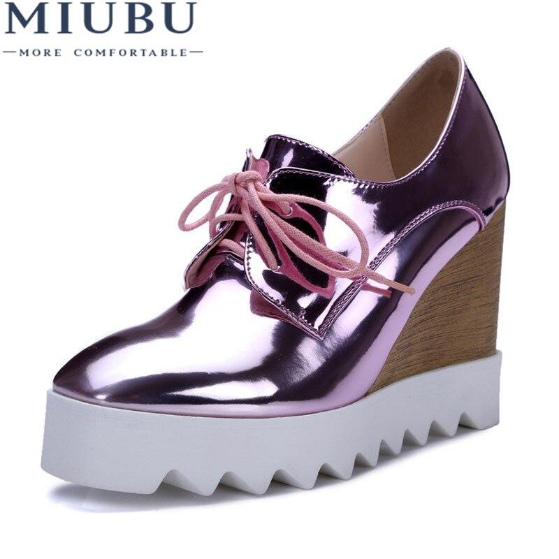 MIUBU Bling cuir verni richelieu compensées or argent chaussures plate-forme décontracté Creepers rose talons hauts de haute qualité