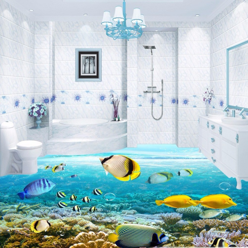 compare prices on free tropical wallpaper online shopping buy low free shipping hd 3d tropical fish floor wallpaper bathroom conference hall waterproof floor wallpaper mural