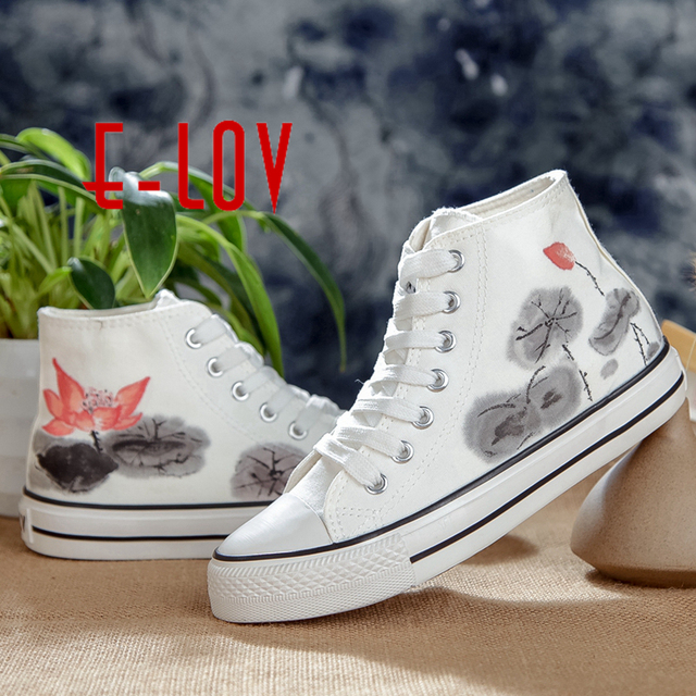 E-LOV Chinese Special Painting Unisex Designs Hand-Painted Canvas Shoes Personalized Men Adult Casual Shoes Cute Platform Shoes
