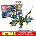 694 PCS LEPIN 06018 Maravilha Ninja Building Block Figura de Ação Modelo Kits Brinquedos Mini blocos de Tijolo Ninjagoed Compatível Legoe