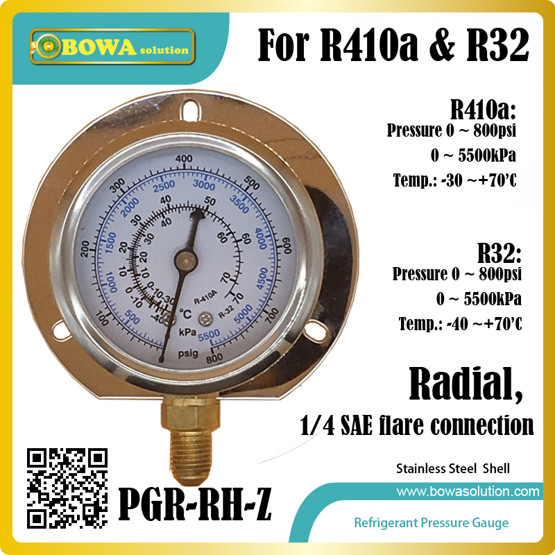 0~800psi, radial stainless steel Pressure Gauge for R410a and R32 for checking superheat and subcooling in refrigeration circles portable lcd digital manometer pressure gauge ht 1895 psi air pressure meter protective bag manometro pressure meter