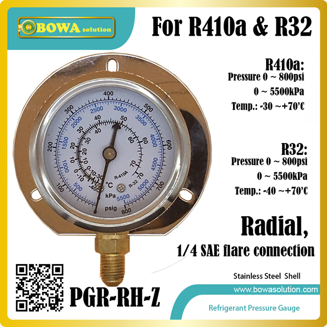 US $14 0 |0~800psi, radial stainless steel Pressure Gauge for R410a and R32  for checking superheat and subcooling in refrigeration circles-in Air