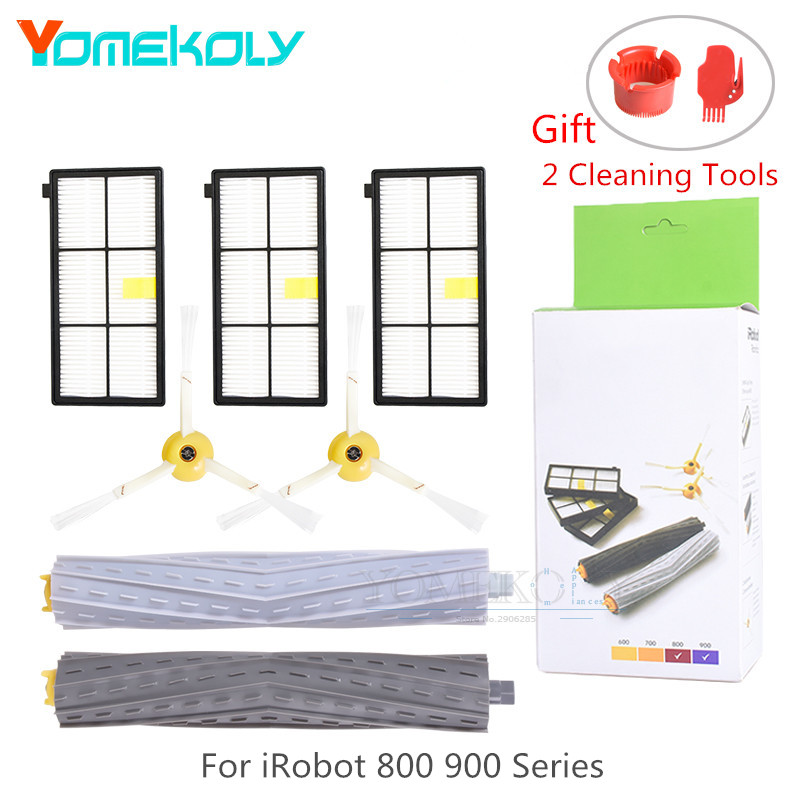 Robot Vacuum Cleaner Part for iRobot Roomba 800 900 Series Side Brush Hepa Filter Tangle-Free Debris Extractor Brush Package Box 14pcs free post new side brush filter 3 armed kit for irobot roomba vacuum 500 series clean tool flexible bristle beater brush