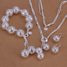 hot deal buy 925 silver jewelry silver-plated 925 silver hollow ball charms bracelet & necklace & earrings wholesale set