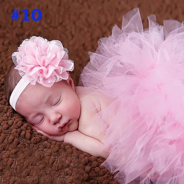 2018 NEW 13 Designs Newborn Tutu Skirt With Matching Flower Headband Stunning Newborn Photo Prop Baby Girl Tulle Tutu Skirt