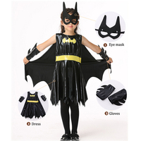 New Girls Batman cos costume Halloween children's clothing dress gloves glasses carnival role playing dress cloak Birthday Gifts