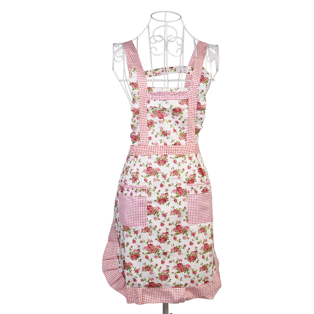 Rose Flower Printing Shoulder Belt Style Sleeveless Women S Kitchen Cooking A With Pocket Baking Accessories