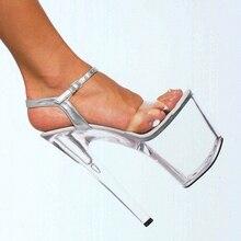 20 cm schuhe mit hohen absätzen transparentem kristall sandalen 8 zoll hochzeit kleid schuhe fersenriemen party Exotic Dancer leistung schuhe