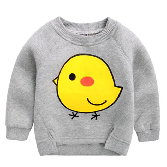 2016 de primavera niños ropa niños ropa de felpa de algodón de dibujos animados pato amarillo Camisetas sudaderas con capucha para niños