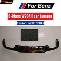 Para Mercedes Benz W204 parachoques trasero labio difusor c63 estilo carbono FiberC180 C200 C280 C300 C350 y C63 bumpe Posterior labio 12-14