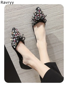Woman sexy pumps twinkling crystal decor fashion casual shoes pointed toe low heel slip-on female party dress shoes single shoe