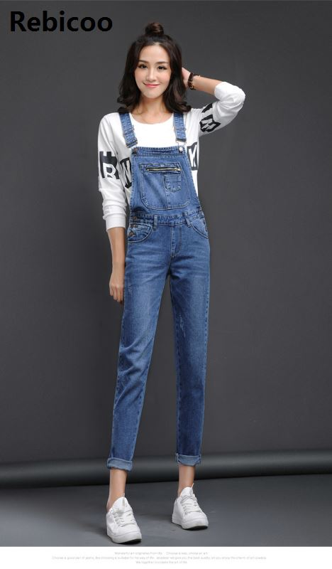 Women Baggy Denim Jeans Bib Full Length Pinafore Overall bodysuits   Jumpsuit   Pants Hole Wavy Edge   Jumpsuit   Fashionable