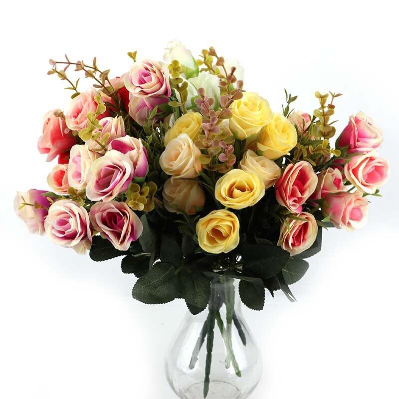 10 Heads/Bouquet Silk Rose European Style Artificial ...