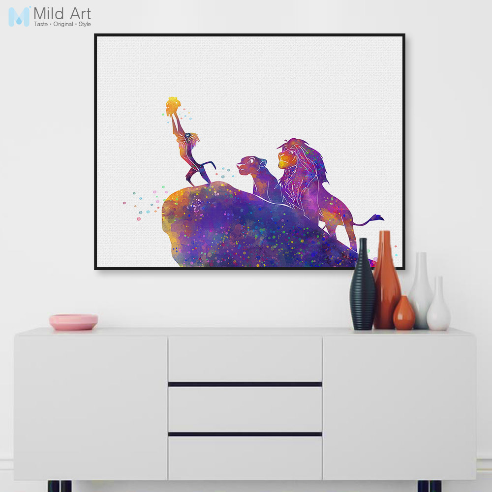 Watercolor Modern Cartoon Pop Movie Animals Lion Canvas Art Print Poster Wall Nursery Pictures Kids Room Deocr Painting No Frame no frame canvas