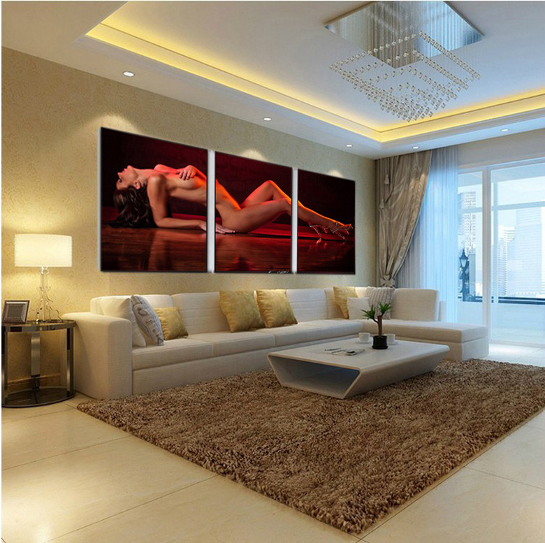 3 pieces set sexy girl wall art picture nude modern home for House decoration pieces
