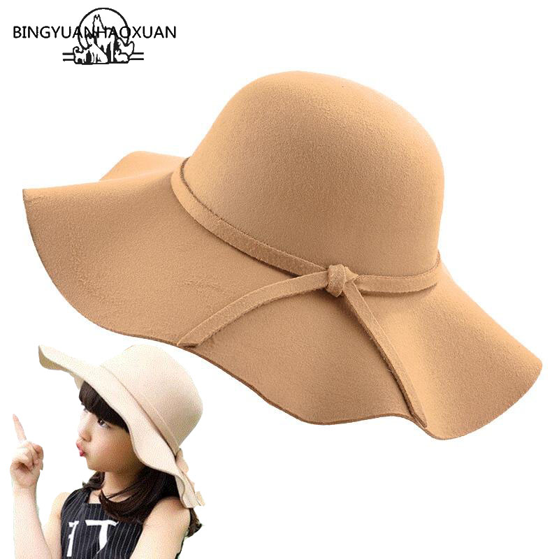 Fedora-Hat Floppy Bowknot Wide-Brim Vintage Women's With Autumn BINGYUANHAOXUAN