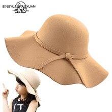 BINGYUANHAOXUAN, Женская фетровая шляпа, осень, винтажная, имитация шерсти, с бантом и широкими полями