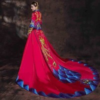 Bride Red Chinese Traditional Wedding Dress Cheongsam Dragon Phoenix Clothing Trailing Dresses Long Qi Pao China Qipao Robe