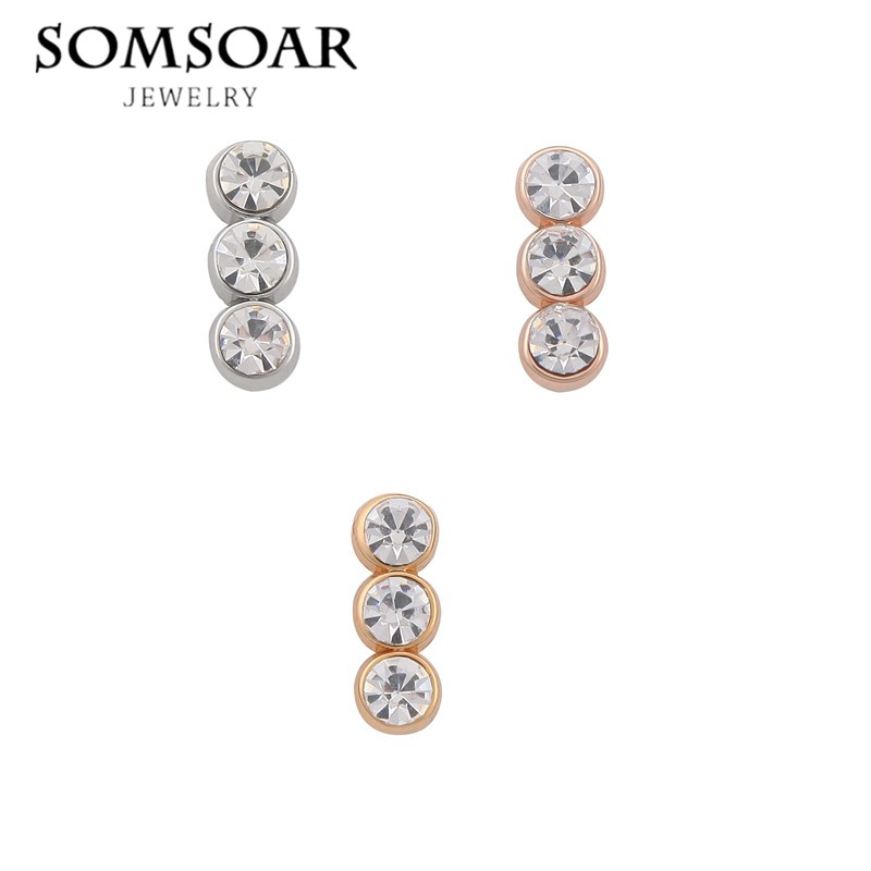 Somsoar Jewelry round Crystal Charms Sparking Trio Keys for Leather Bracelets DIY Breloque Jewelry as Women Gift 10pcs/lot