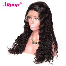 ALIPOP Brazilian Water Wave Pre Plucked 360 Lace Frontal Wig 150 Density Swiss Lace wig Non Remy Human Hair Wigs for Black Women