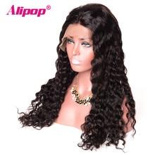 Бразильский волна воды 360 Синтетический Frontal шнурка волос парик 150 плотность Человеческие волосы Искусственные парики для черный Для женщин не Реми Швейцарский Кружево парик alipop предварительно сорвал