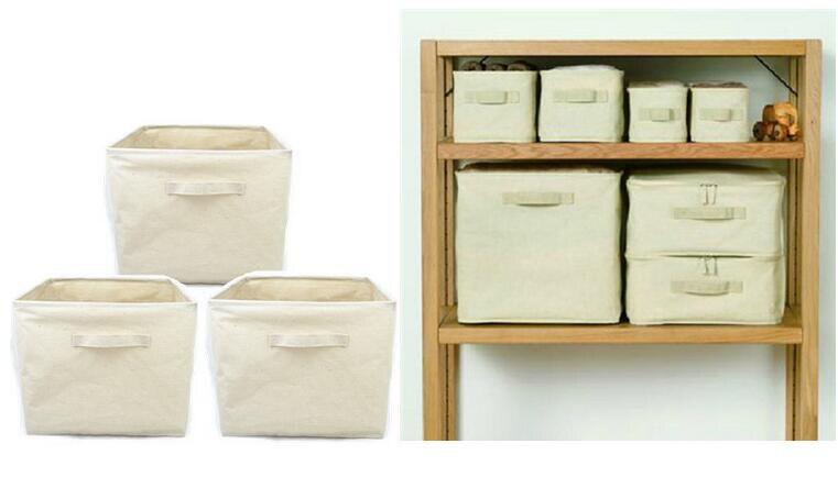 Foldable Linen And Cotton Storage Basket Clothes Laundry Storage Box  Sundries Organizer Toys Storage Bucket Home Storage