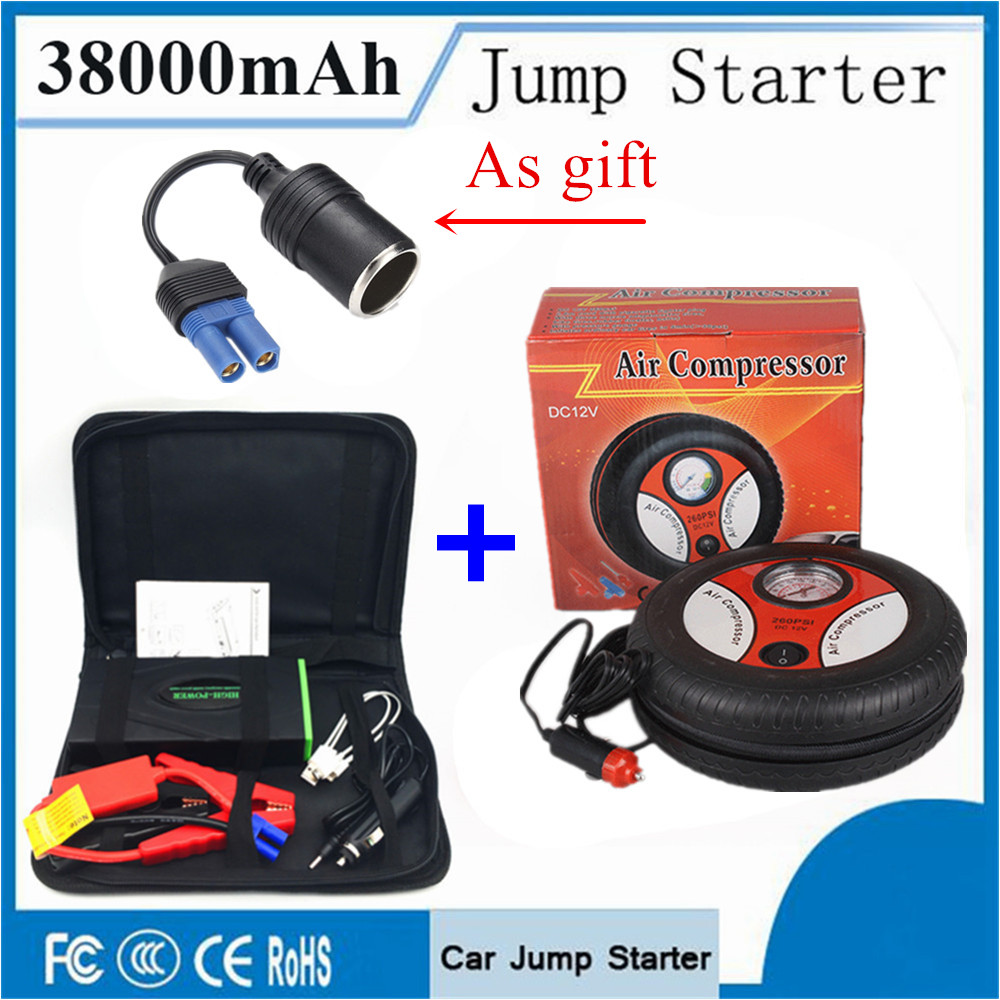 Multi-Function 38000mAh Car Jump Starter & Inflatable Pump 600A Portable Starting Device Power Bank Car Battery Charger Booster 12v 15000mah multi function car jump starter battery charger power bank booster