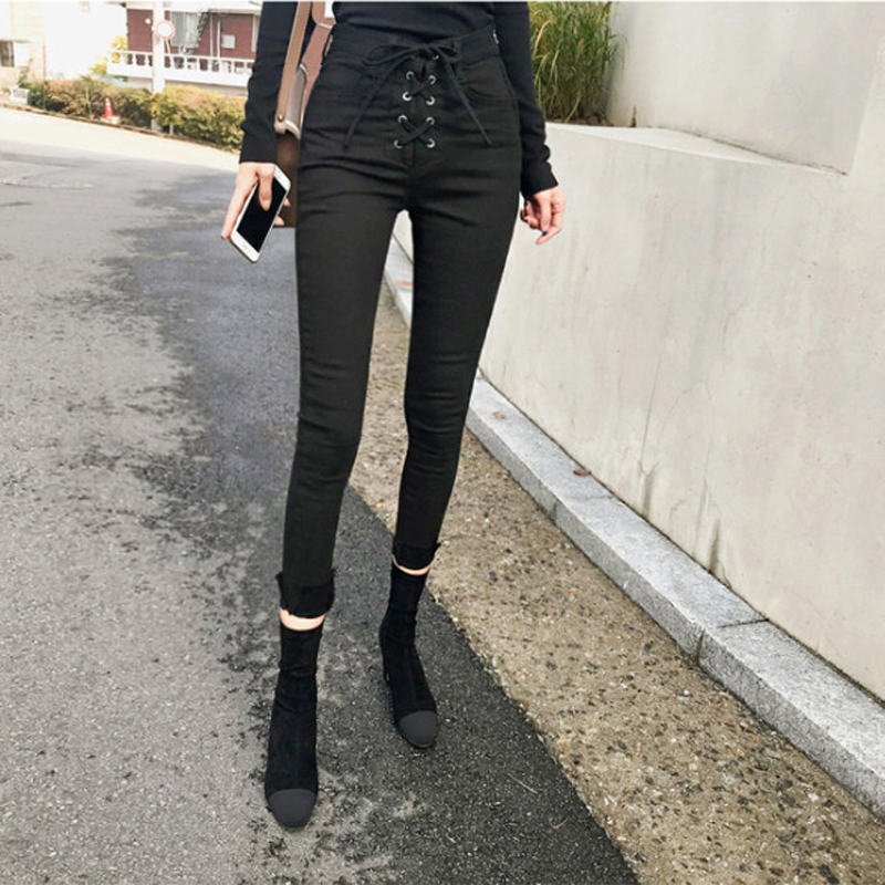BGTEEVER Slim   Jeans   For Women Skinny High Waist   Jeans   Woman Denim Pencil Pants Stretch Waist Drawstring Women Push Up Pants 2018