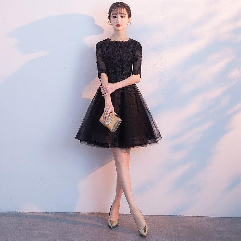 Robe De Soiree Black SEXY Short A Line   Evening     Dress   Lace Flower Prom Party Gowns Vestidos De Festa Elegant Graduation   Dresses