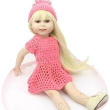 18 inch Handmade Full Vinyl American Girl Fashion Reborn Toys Chilldren Birthday Gift Valentine's Day Dolls Blond