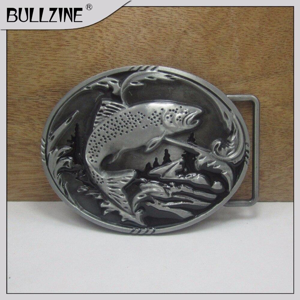 Пряжка для рыболовного ремня Bullzine с отделкой оловянного FP-03265 с постоянный запас подходит для ремня шириной 4 см