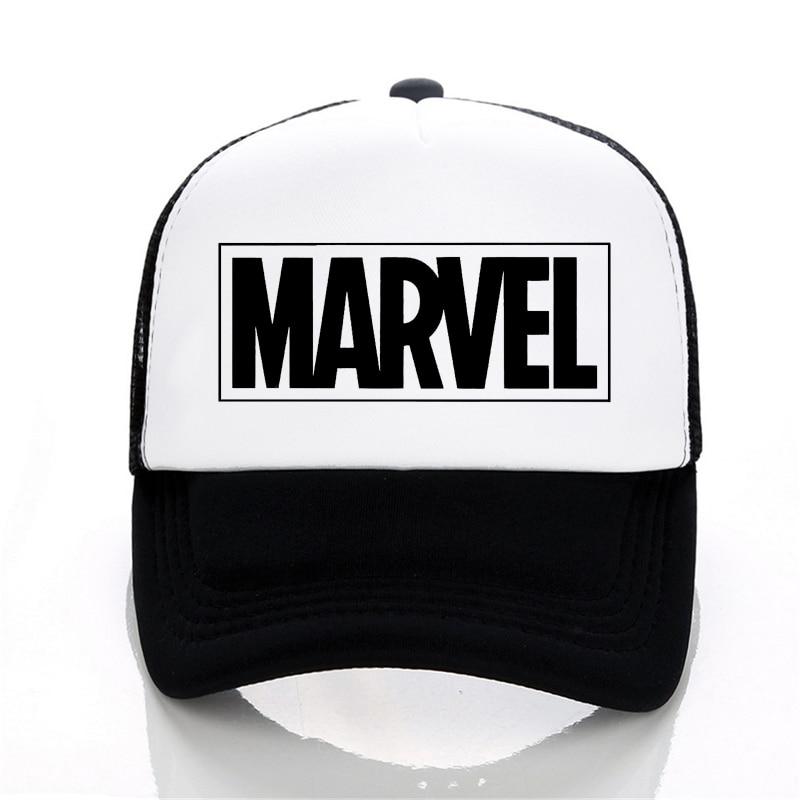 MARVEL letter   Baseball     Caps   Summer Leisure Adjustable Hats Mesh trucker hat Fashion men women Mesh   cap