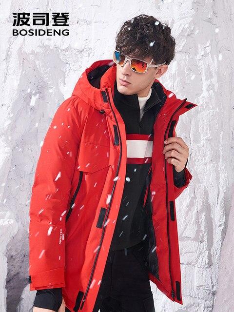 BOSIDENG 2018 Gore ткань куртка на гусином пуху для мужчин зимняя утепленная верхняя одежда вооруженных с RECCO Высокое качество капюшоном B80142209