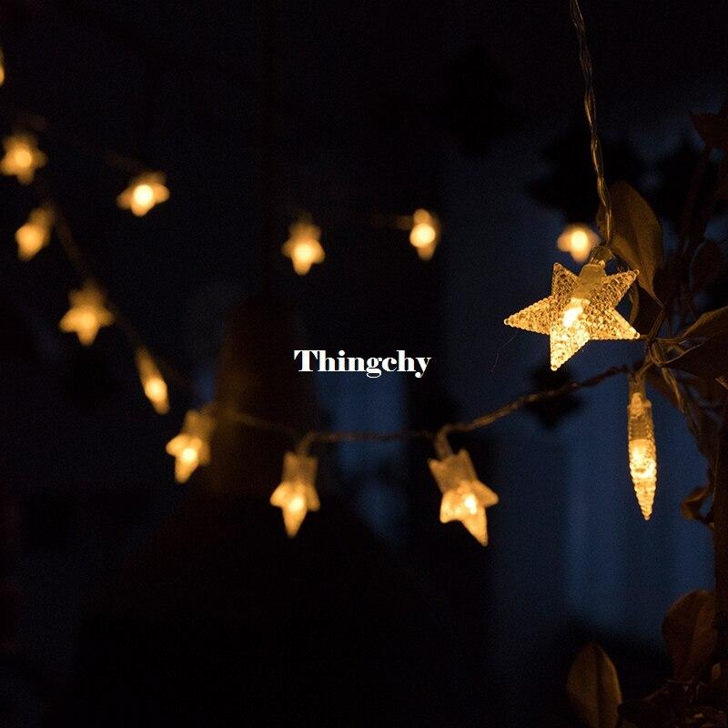 220V 10M 50Led Lampu Krismas Pokok Salji Bintang String Fairy Lampu - Pencahayaan perayaan - Foto 5