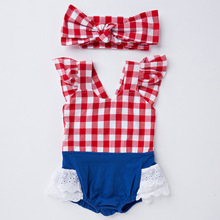 2017 Summer Infant clothing lace short sleeved Jumpsuit clothing triangle Kazakhstan + hair foreign children explosion models