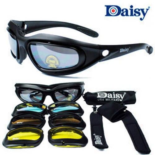 Prix pour Daisy C5 Désert lunettes de Soleil 4 Lentilles Lunettes Tactique Lunettes Protection Des Yeux Pour Airsoft Uv400 Lunettes