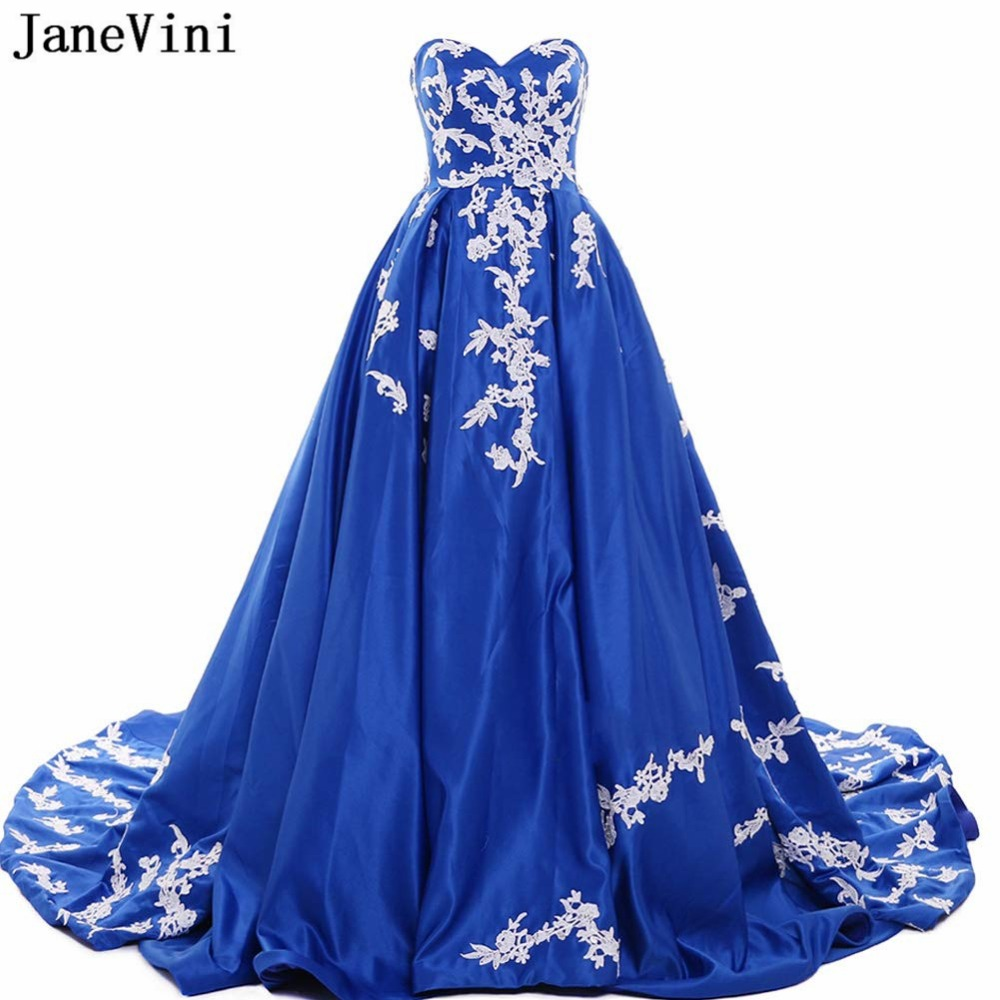 JaneVini Gorgeous Royal Blue A Line Long Plus Size Prom Dresses 2019 Sweetheart Lace Applique Evening Satin Gown Galajurken Lang