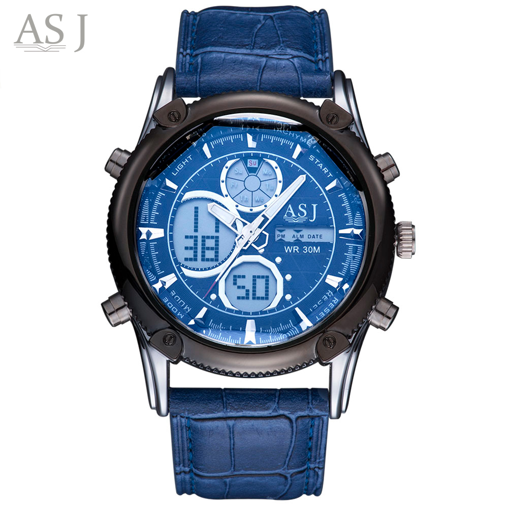 Digital-watch ASJ Fashion Watches Men Men Quartz Chronograph LED Sport Watch Man Army Military Wrist Watch Relogio Masculino
