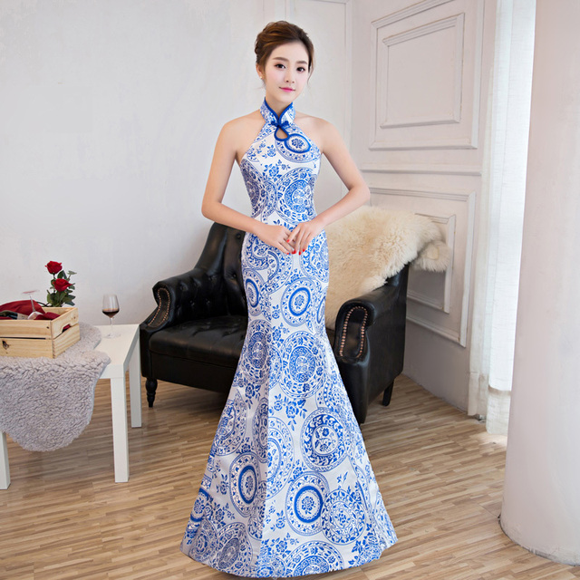 Bleu Blanc Porcelaine Traditionnelle Chinoise Robe De Soiree De Mode