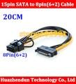 10 pcs Frete Grátis pin SATA macho para 8pin (6 + 2) PCI-E Cabo de Alimentação Cabo 20 cm Cabo de pinos para 8 pinos cabo SATA