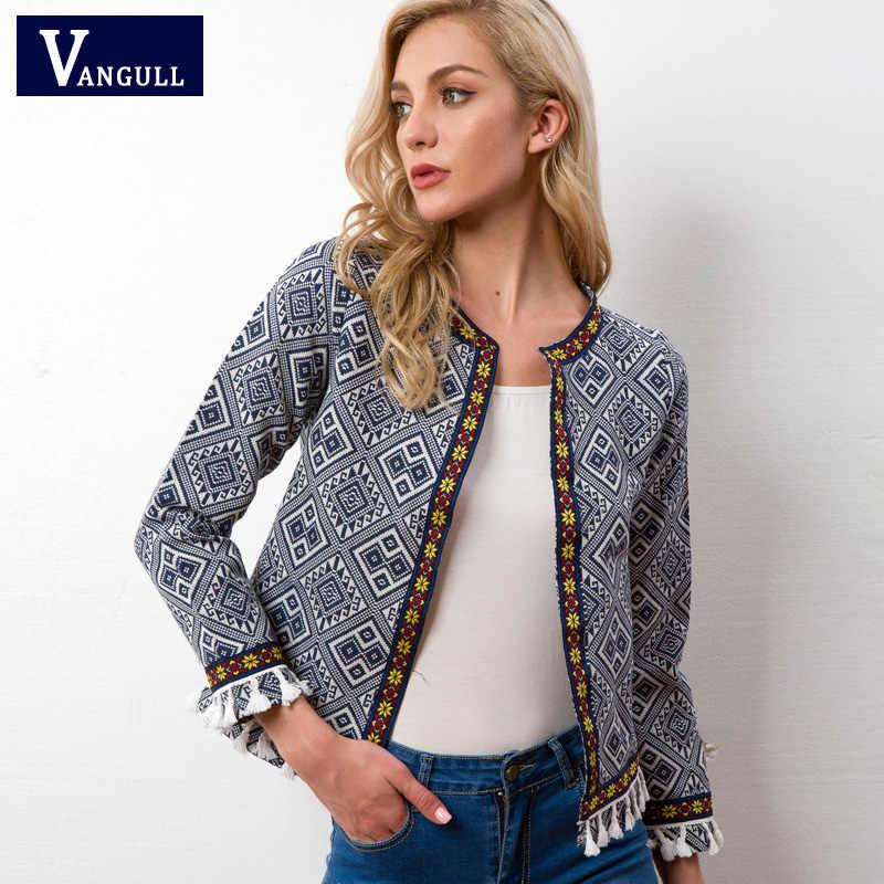Vangull куртка с вышивкой в этническом стиле синяя винтажная бахрома Лента отделка женское осеннее пальто 2018 Весна длинный рукав кисточка Бохо куртка