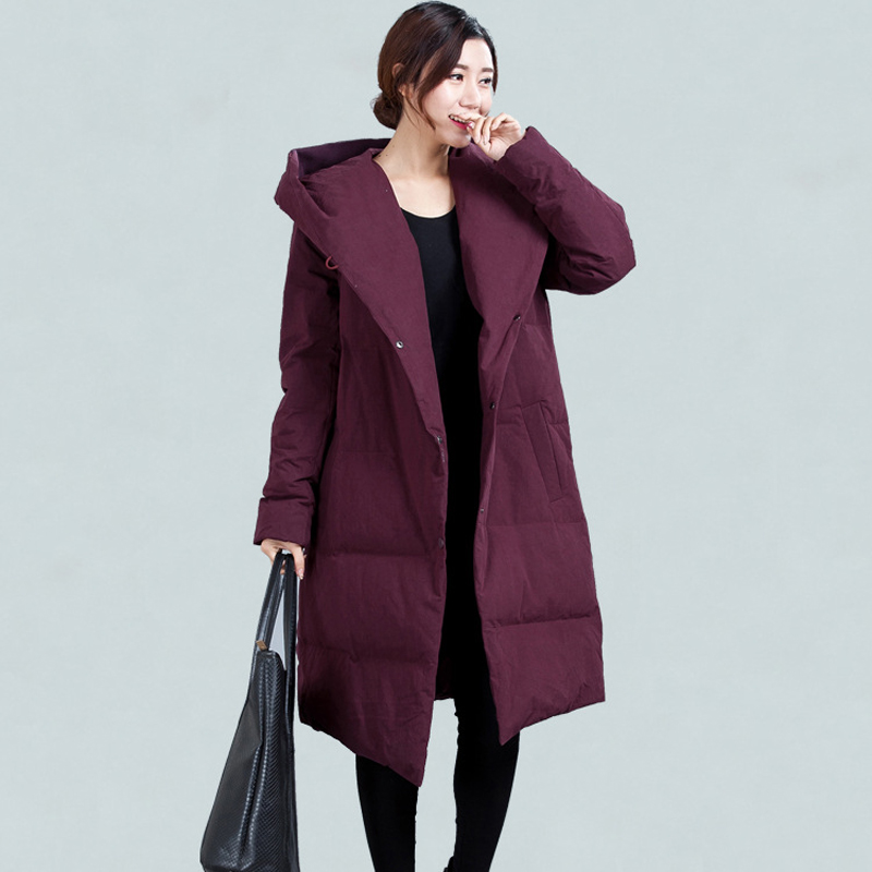 Plus Size   Down     Coat   Winter Thicken Warm Oversize Jacket Women Casual Solid Long Hooded   Down     Coat   M/L/XL