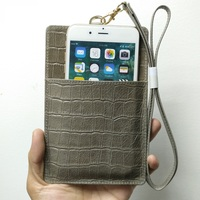 Genuine Leather Card Holder Pouch Phone Bag Case For iPhone X XS Max XR 6 6S 7 8 Plus Luxury Crocodile Strap Wallet Cover Gray