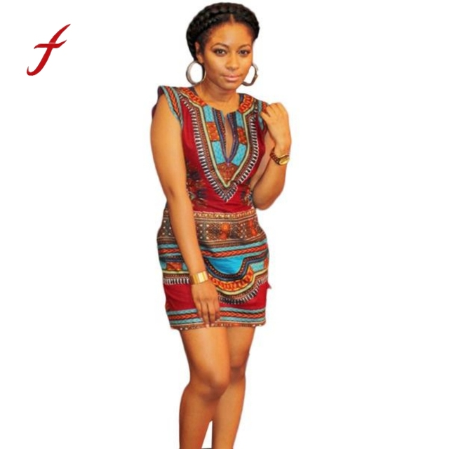 50dc914313ed Sexy African Dress For Women 2018 Summer Casual Sleeveless Traditional  African Print Party Dress New Dresses Sexy Club