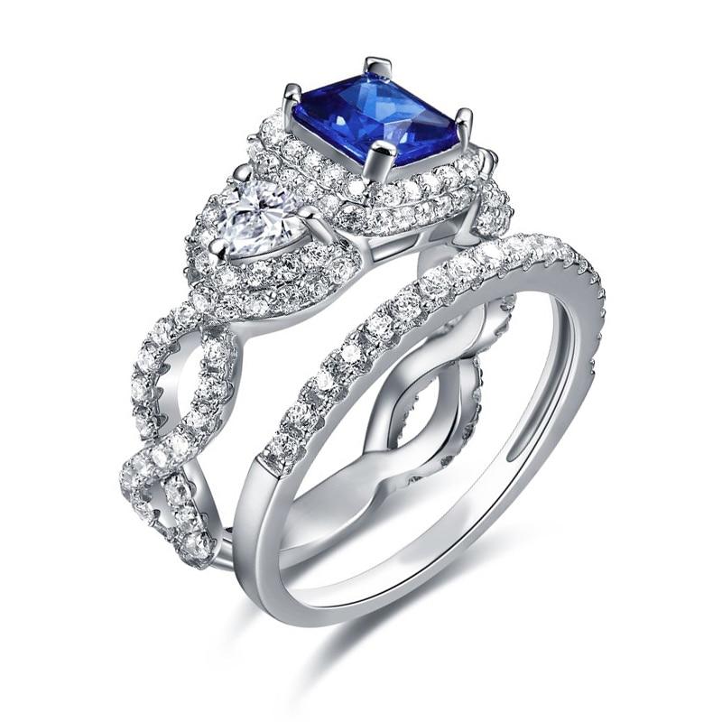 Hutang, 6.47ct, 2 шт., 925 пробы, серебряное, обручальное кольцо, наборы, лаборатория, танзанит, цирконий, обручальное кольцо, подарок, ювелирное изделие для женщин